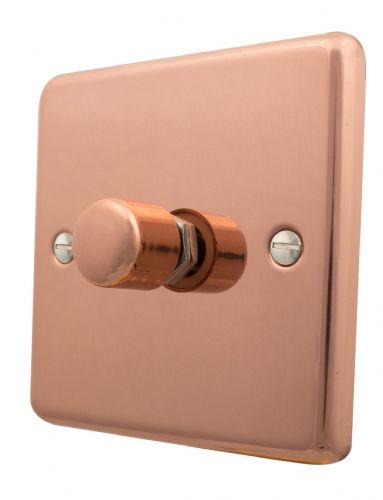 G&H CBC15 Standard Plate Bright Copper 1 Gang 1 or 2 Way 700W Dimmer Switch Single Plate